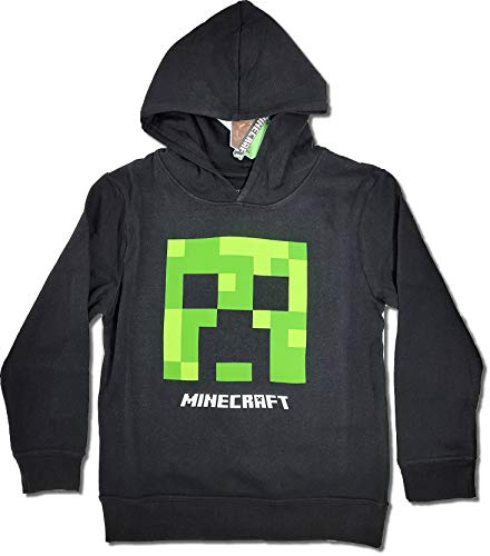 Minecraft Jungen Creeper Hoodie Kapazenpullover (Schwarz, 128)