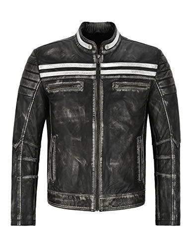 Cafe Racer Jacket Black Vintage Hombres Biker Speed Punk Chaqueta de Cuero Real 2665