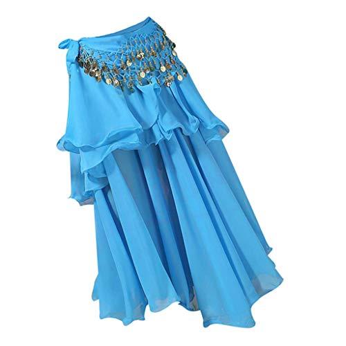 P Prettyia Bauchtanz Lange Tanz Rock Chiffon Bauchtanzrock mit Münzen Taille Gürtel, Orientalische Kostüme für Damen - Mangel an Blau