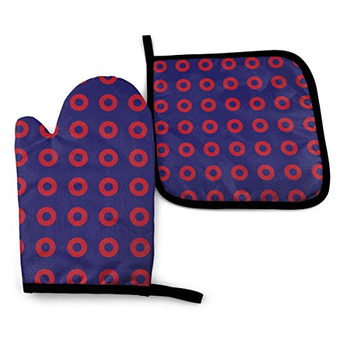 TOLUYOQU Phish Red Donut Circles On Blue Oven Mitts and Pot Holders Set Waterproof Heat Resistant Grilling Gloves for Cooking Baking BBQ Kitchen Decor
