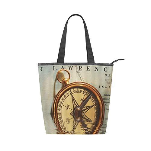 BOSENKE Laptop Tote Bag for Women Lightweight Fashion pattern canvas Handbag Womens Shoulder Bag, Retro Compass Nostalgic Age Half In Water On Letter Paper (work/shopping/school/travel)