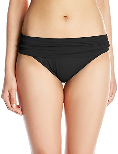 La Blanca Women's Island Goddess Shirred Band Hipster Bikini Swimsuit Bottom, Black, 12