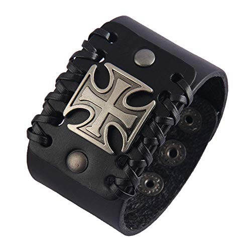 DDSCB Pulsera Hombre Cuero,Mens Leather Bracelet,Vintage Cross Alloy Charm Black Wide Leather Bracelets with Adjustable Buckle Punk Gothic Bangle Cuff Wristband For Women Husband Teens