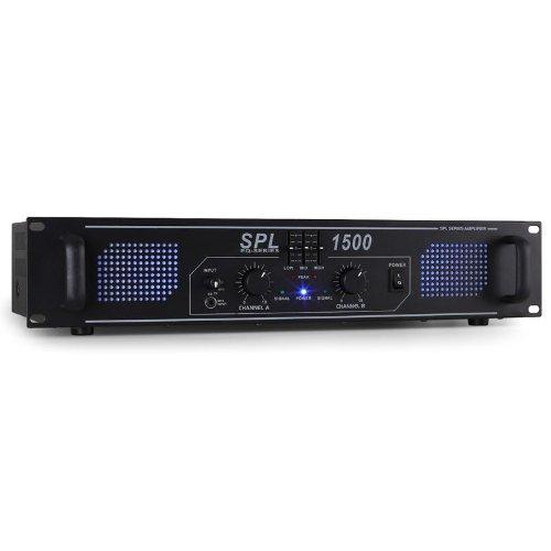 Skytec SPL-1500-EQ - Amplificador HiFi PA Rack 48cm, Efecto LED