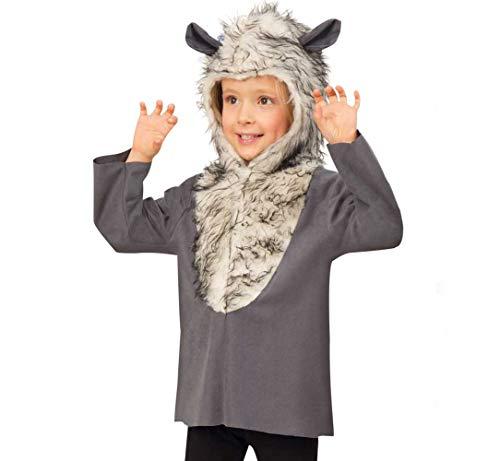 KarnevalsTeufel Kinderkostüm Wolf Oberteil mit Kapuze in grau-weiß mit Wolfsohren Tierkostüm Bestie Gr 104 - 116 (116)