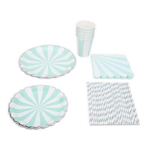 Papiergeschirr-Streifen Einweg-Papiergeschirr-Set Tellerbecher Strohserviette für Hochzeit