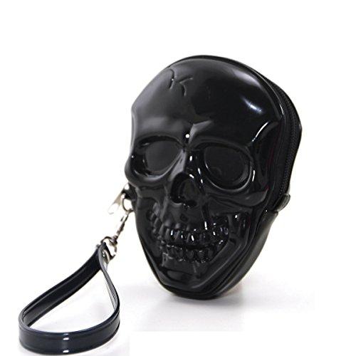 Smiling Pirate Skull Bone Zippered Wristlet Purse