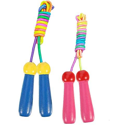 Springseil Kinder, 2 Stück Verstellbar Rope Skipping Seil Kinder 6 Jahre+, 200cm Seilspringen Mit Holzgriff und Baumwollseil Jump Rope Kids / Hüpfseil für Jungen und Mädchen Fitness