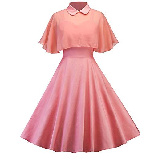 COZOCO Color sólido Elegante de Las Reglas de Las Mujeres Conservador Manto mantón Vestido de Dos Piezas Correa de muñeca Collar(Rosado,S