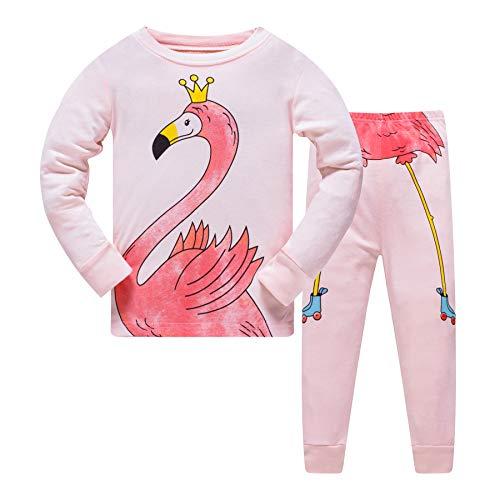 HIKIDS Meisjes Pyjama Leuke Roze Flamingo Nachtkleding Kinderen Lange mouw Katoen Peuter Pjs Kinderen 100% katoen nachtgoed Leeftijd 4-5 jaar