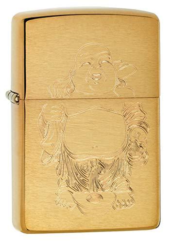 Zippo Lighter: Laughing Buddha Engraved - Brushed Brass 80730