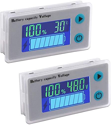 DollaTek 2PCS 10-100V Nivel de batería programable Medidor de temperatura de voltaje 12V 24V 36V 48V Pantalla LCD Indicador de porcentaje Probador Detector de cantidad eléctrica