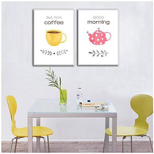 xwwnzdq New Maison decoratie, stempel en affiche, Scandinavisch, minimalistisch, Café, canvas, muur, kunst, foto, restaurant, Home Decor, 50 x 70 cm, 2 stuks No Frame