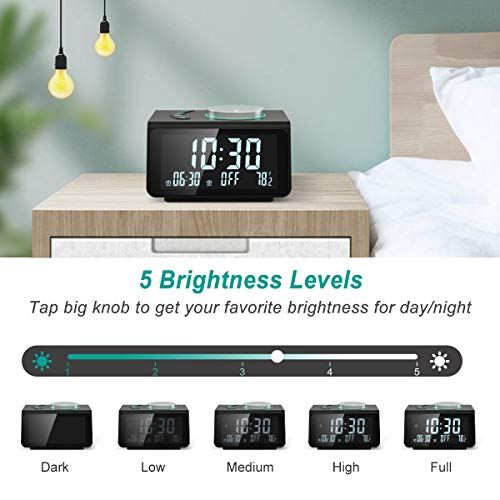 【2020 Newest】 ANJANK Small Digital Alarm Clock Radio - FM Radio,Dual USB Charging Ports,Dual Alarms with 7 Alarm Sounds,Adjustable Volume,Temperature,5 Level Brightness Dimmer,Battery Backup,Bedrooms