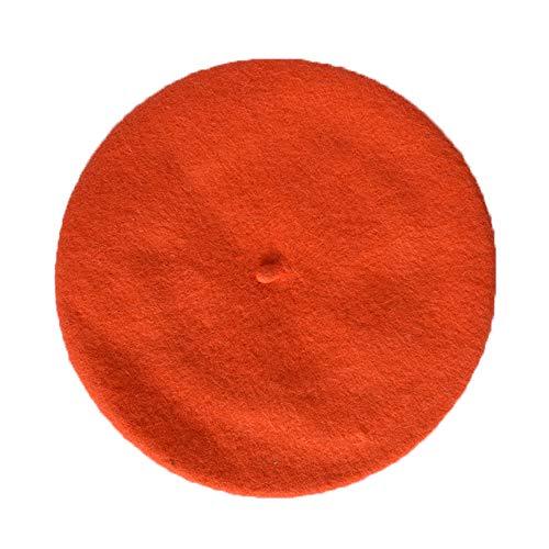 JOYHY Niños Sólido Color Estilo Francés Boina Gorrita Sombrero Naranja