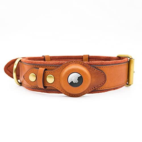 Funda de piel auténtica para perro Apple AirTag collar discreto rastreador GPS mediano a grande perros pequeños