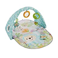 Soft play mat, ideal for lay and play or tummy time fun Colourful arch for hanging toysfeatures asee-through porthole (hello, baby) 5 linkable toys: crinkle butterfly, clackers, discovery mirror, jingle bear and chewy teether Take-along musical...