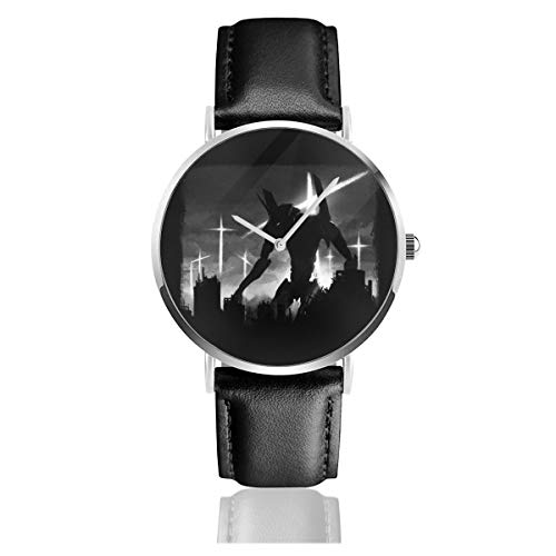 Unisex Business Casual Neon Genesis Evangelion Test Unit Uhren Quarz Leder Uhr mit schwarzem Lederband für Männer Frauen Young Collection Geschenk