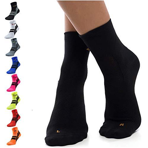 ZaTech Plantar Fasciitis Sock, Compression Socks (Black, Medium)