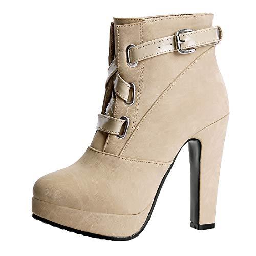 MISSUIT Damen High Heels Plateau Stiefeletten mit Schnallen und Blockabsatz Ankle Boots Platform Schuhe(Beige,38)