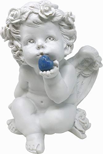 UDIG Süße Engel Figur mit Edelsteinherz Dekofigur Schutzengel mit Edelstein Dekoengel mit blauem Stein, Deko 16 cm (Blauquarz)