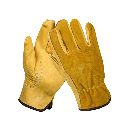Yardwe Leather Work Gloves, Gardening Gloves for Women/Men, Garden Gloves Suitable for Pruning Cacti Rose and Thorny Bushes, Farm, Warehouse, Construction, Motorcycle, Yellow, XL
