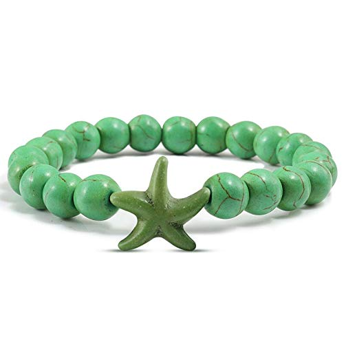 Zozu Vintage Natural Stone Blue Green Turquoises Bracelets for Women Men Fashion Beach Star Jewelry Special Design Summer Boho Bangle (all green)