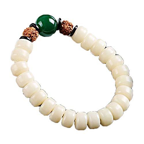 ZHIBO Pure Natural White Jade Bodhi Bangle Men Women Rosary Bracelet