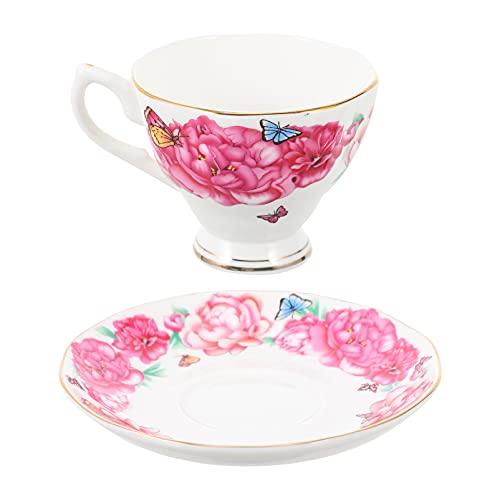HEMOTON Tazas de Té Y Platillos de Cerámica Juego de Tazas de Té Florales Juego de Tazas de Café Espresso Juego de Platos para Amigos Regalos Vajilla Casera de Boda
