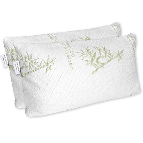 Hotel Comfort Premium Adjustable Memory Foam Pillow Ultra-Soft Bamboo Cover - King Size Set of 2