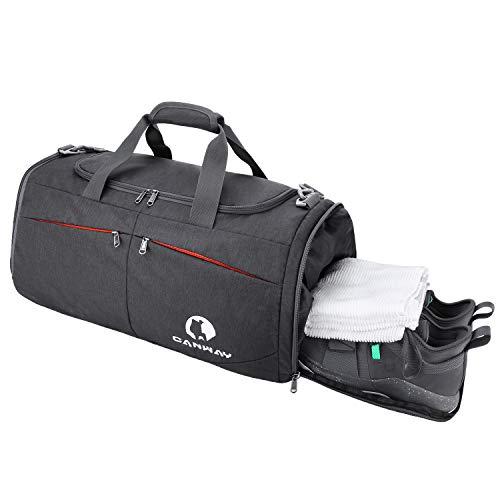 CANWAY Faltbare Sporttasche Faltbare Reisetasche mit dem schmutzigen Fach und Schuhfach Leichtgewicht für Männer und Frauen (Schwarz)