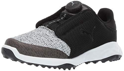 Puma Golf Unisex-Kid's Grip Fusion Sport Disc Golf Shoe, Puma Black-Quarry, 4 M US Big Kid