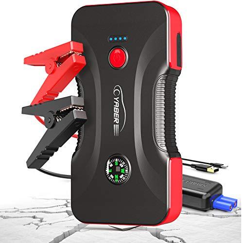 YABER Booster Batterie - 800A 12800mAh Démarrage de Voiture (Jusqu'à 6.5L Essence/5.0L Gazole) Portable Jump Starter avec Sorties QuickCharge 3.0, Lampe à LED,Marteau de Sécurité, Boussole