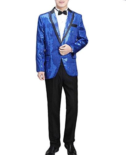 Aooword-men clothes Herren sequin krawatte outwear tops club party blazer stilvollen anzug Small Royal Blau