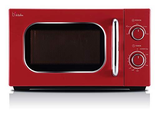 BKITCHEN Cook 820 Retro-Mikrowelle, 5 Leistungsstufen, 35 min.Timer, Rot, 700W
