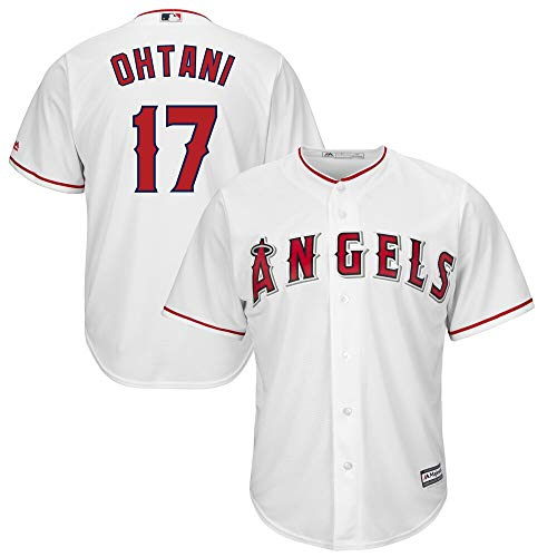 Outerstuff Shohei Ohtani Los Angeles Angels MLB Majestic Boys Youth 8-20 White Home Cool Base Replica Jersey (Youth Large 14-16)