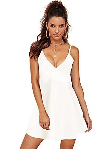 SheIn Women's V Neck Adjustable Spaghetti Straps Sleeveless Sexy Backless Dress Medium White