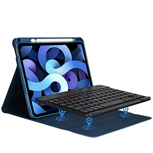 Tastiera per iPad Air 4 10.9 2020 Custodia, Cover con Tastiera per iPad 10.9 2020 iPad pro 11 2018, Tastiera Staccabile Italiana Wireless Bluetooth Smontabile Magnetico con Slot per Penna -Blu Scuro