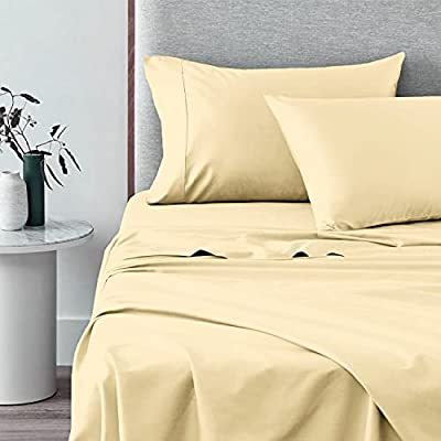 Pizuna 400 Thread Count Cotton Queen Size Yellow Sheets Set, 100% Long Staple Cotton 4 PC Sheets, Sateen Cotton Bedding Set fit Upto 15 inch Deep Pocket (Yellow Queen 100% Cotton Sheets)