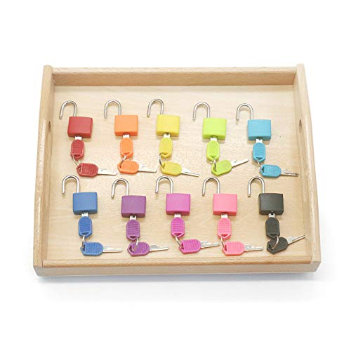 Montessori Material Color Matching Lock Set Montessori Toys for Toddlers Preschool Practical Life Wooden Tray