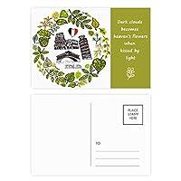 ピサのリアルト橋イタリアコロシアム 詩のポストカードセットサンクスカード郵送側20個