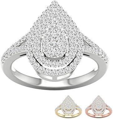 IGI Certified 14k Yellow Gold 1 2 Ct TDW Diamond Cluster Pear Shaped Engagement Ring I J I2 product image