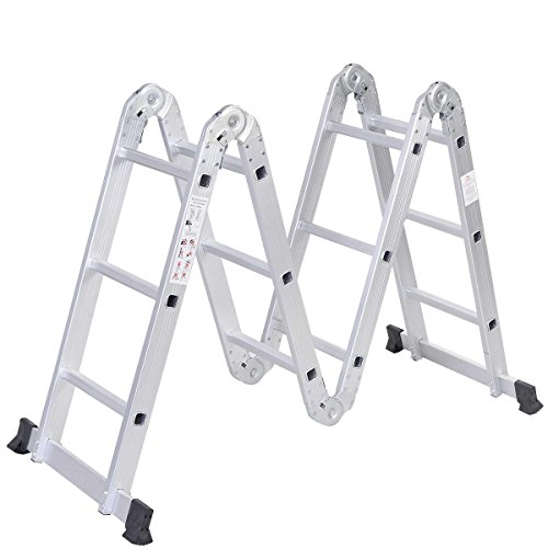 Safeplus Aluminum Lightweight Multi Task Ladder, 3.3ft Multi Purpose Folding Scaffold Ladder, 12.5ft Multi-Purpose Extension Work Step Ladder-MAX Weight 330 LBS