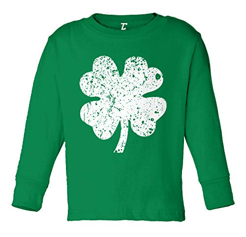 Distressed Four Leaf Clover - Luck Irish Long Sleeve Toddler Cotton Jersey Shirt (Kelly, 4T)