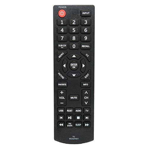 Replacement Remote Control for AC/TV/AV Remote Control MC42FN01 for Sanyo LCD TV FW24E05F FW42D25T FW50C85T FW65D25T