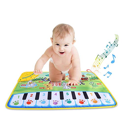 YOUTHINK Piano Musical Mat for Baby,Musical Keyboard Play Mat Educational Musical Toy Dance Mat Gift for Kids Toddler Girls Boys