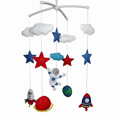 Bleu Rouge à la Main Mignon bébé Berceau lit Mobile Bell Musical Mobile Suspendu pépinière décor pour garçons, Astronaute et Espace