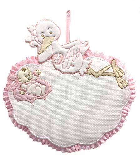 Lazo de nacimiento rosa con nueva y cigüeña portabebés para bordar 30 x 30 cm