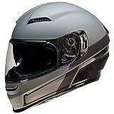 Z1R Casco de Moto Integral Homologado con Pantalla y Visera Parasol Desplegable | Ventilación | Color Gris Mate | Policarbonato | Hombre o Mujer (Medium)