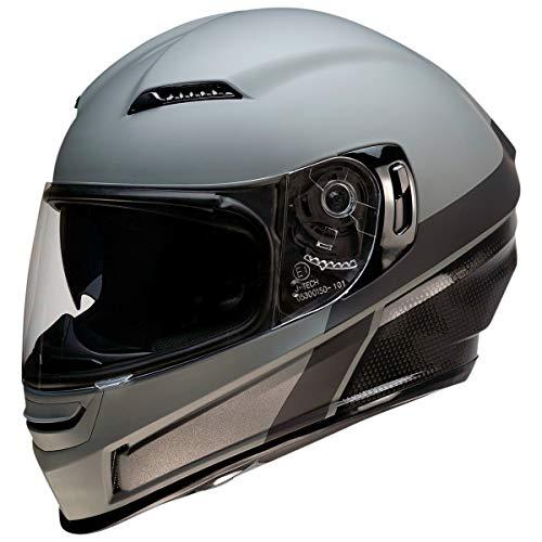 Z1R Casco de Moto Integral Homologado con Pantalla y Visera Parasol Desplegable   Ventilación   Color Gris Mate   Policarbonato   Hombre o Mujer (Medium)